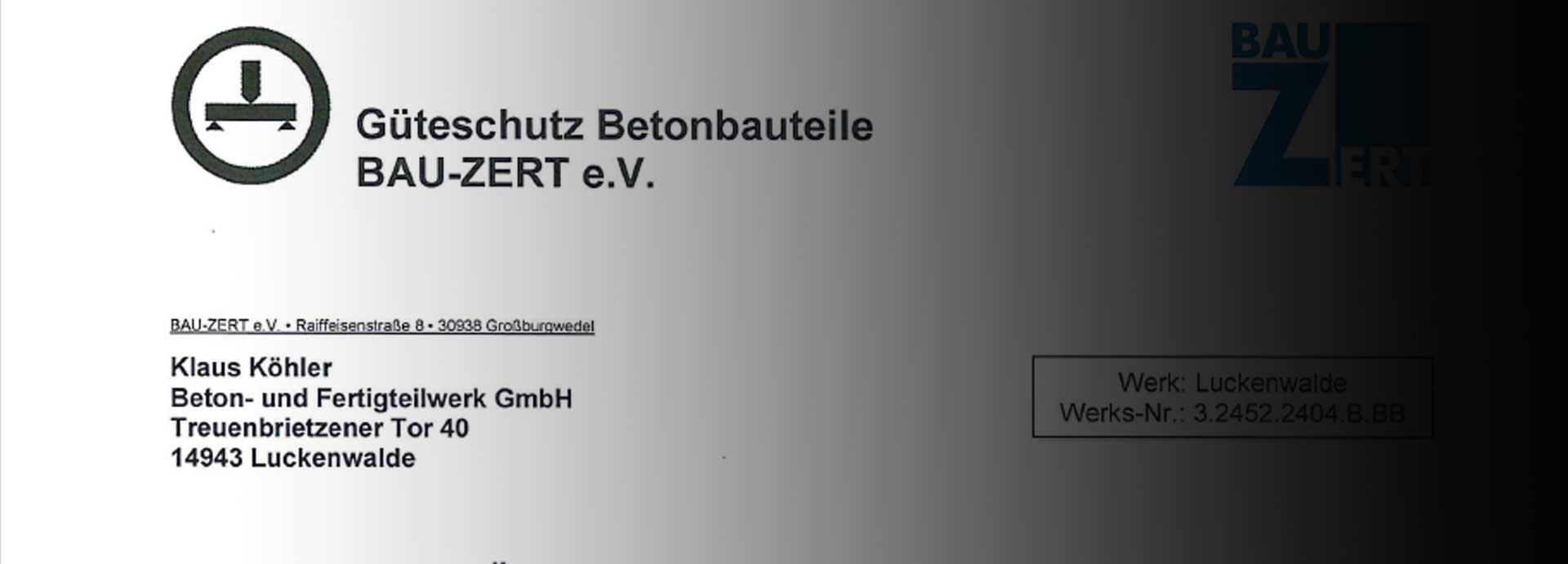 BAU-ZERT e.V Zertifizierung