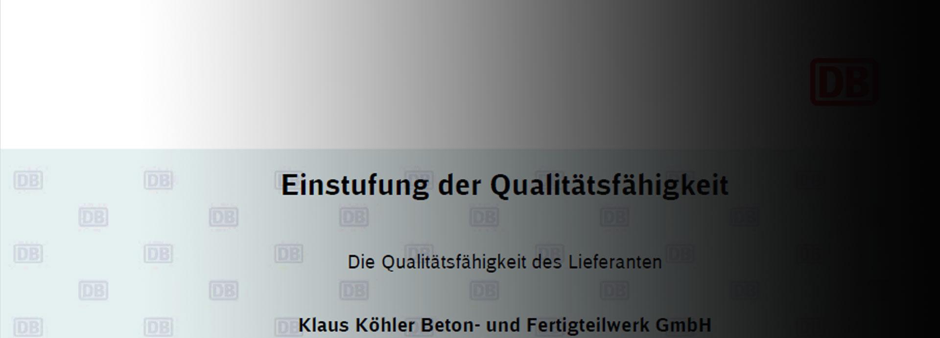 Zertifizierung der Deutschen Bahn