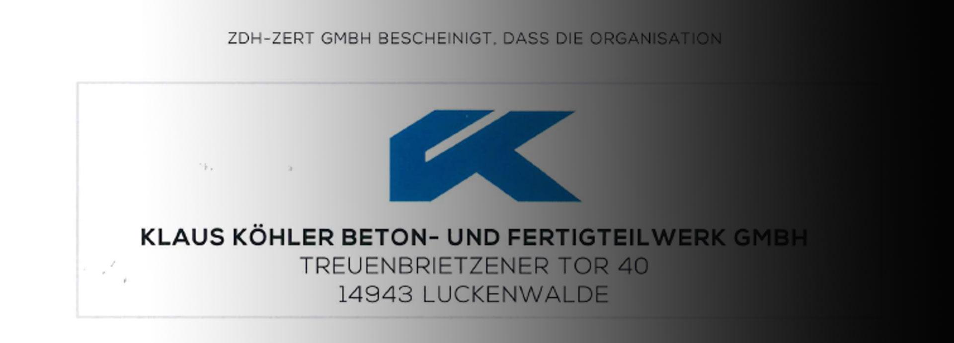 ZDH Zertifikat - Köhler Beton